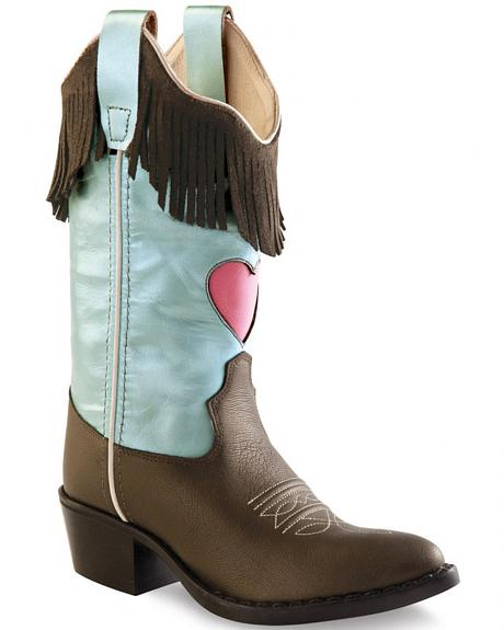 Old West Girls' Fringe Cowgirl Boots - Round Toe