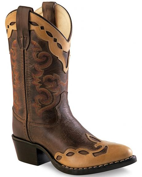 Old West Brown Overlay Childrens' Western Boots - Pointed Toe