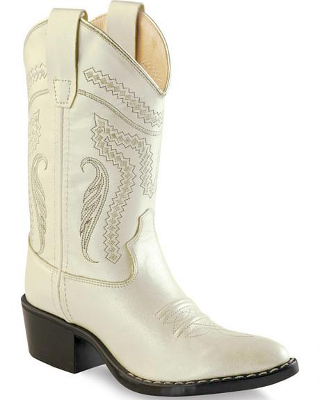 Old West Girl Childrens' White Western Boots - Pointed Toe