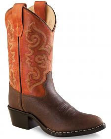 Old West Boys' Orange Cowboy Boots - Round Toe