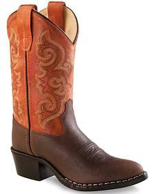 Old West Boys' Orange Cowboy Boots - Round Toe
