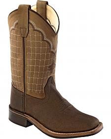 Old West Boys' Brown Stitched Cowboy Boots - Square Toe