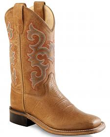 Old West Boys' Tan Western Boots - Square Toe