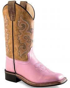 Old West Girls' Pink and Brown Leather Boots - Square Toe