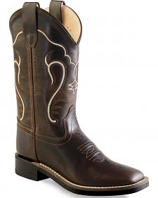Old West Boys' Brown Cowboy Boots - Square Toe
