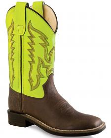 Old West Neon Yellow Boys' Cowboy Boots - Square Toe