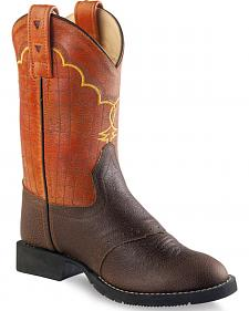 Old West Boys' Brown and Orange Western Boots - Round Toe