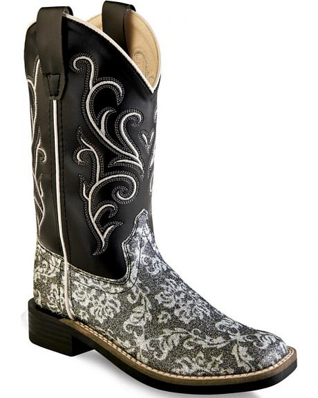 Old West Girls' Children Black Western Boots - Square Toe
