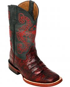 Ferrini Boys' Black Cherry Caiman Print Western Boots - Square Toe