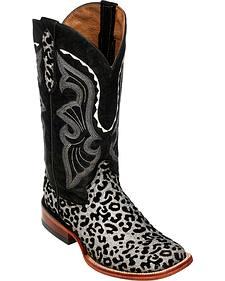 Ferrini Girls' Silver Leopard Print Western Boots - Square Toe