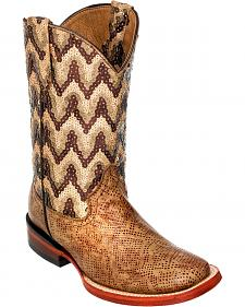 Ferrini Girls' Mocha Boa Print Western Boots - Square Toe