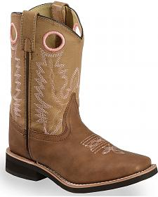 Swift Creek Youth Girls' Tan Cowboy Boots - Square Toe