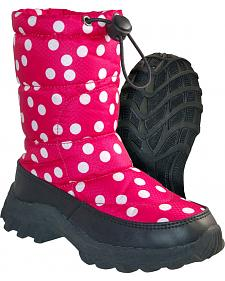 Itasca Girls' Pink Polka Dot Snow Scamp Winter Boots - Round Toe