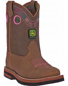 John Deere Toddler Girls' Johnny Popper Embroidered Western Boots - Square Toe