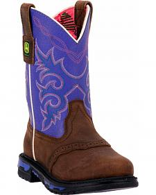 John Deere Girls' Johnny Popper Purple Western Boots - Round Toe