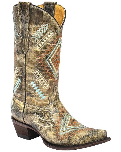 Corral Girls' Multicolored Diamond Embroidered Cowgirl Boots - Snip Toe
