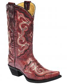 Corral Girls' Embroidered Red Cowgirl Boots - Snip Toe