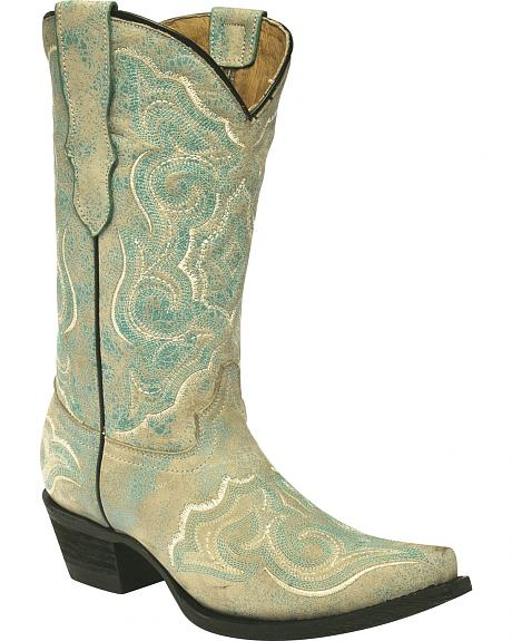 Corral Girls' Embroidered Turquoise Cowgirl Boots - Snip Toe