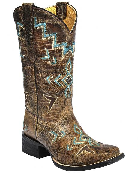 Corral Girls Studded Embroidered Cowgirl Boots - Square Toe
