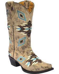 Corral Girls' Aztec Pattern Cowgirl Boots - Snip Toe