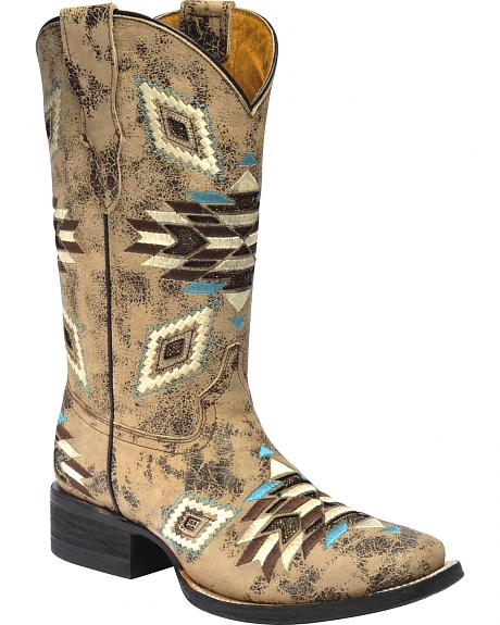 Corral Girls' Aztec Pattern Cowgirl Boots - Square Toe