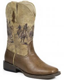 Roper Boys' Tan Western Rider Cowboy Boots - Square Toe