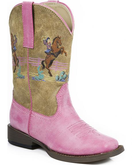 Roper Girls' Pink Vintage Western Rider Cowgirl Boots - Square Toe