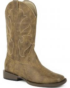 Roper Youth Girls' Tan Rustic Cowgirl Boots -  Square Toe
