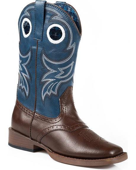Roper Youth Boys' Blue and Brown Cowboy Boots - Square Toe