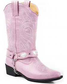 Roper Youth Girls' Pink Harness Cowgirl Boots - Round Toe