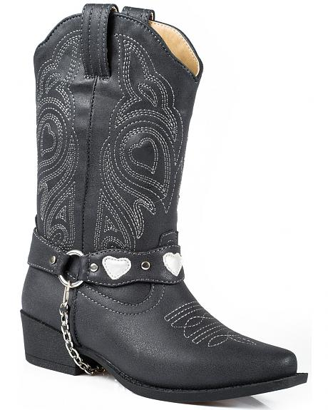 Roper Youth Girls' Black Harness Cowgirl Boots - Round Toe