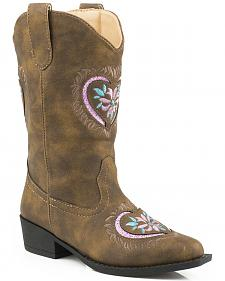 Roper Youth Girls' Pink Glitter Heart Cowgirl Boots - Snip Toe