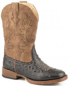 Roper Youth Boys' Brown Faux Ostrich Print Cowboy Boots - Square Toe