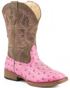 Roper Youth Girls' Pink Faux Ostrich Print Cowgirl boots - Square Toe