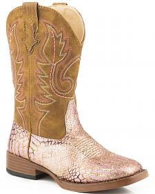 Roper Youth Girls' Pink 'n Gold Glitter Cowgirl Boots - Square Toe
