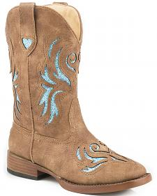 Roper Girls' Tan and Turquoise Glitter Breeze Cowgirl Boots - Square Toe