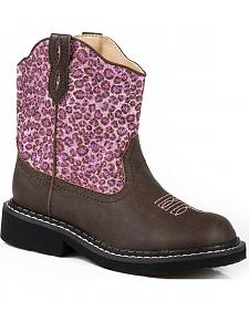 Roper Youth Girls' Pink Glitter Cheetah Chunk Cowgirl Boots - Round Toe