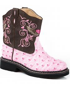 Roper Youth Girls' Pink Flying Heart Chunk Cowgirl Boots - Square Toe
