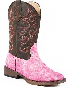 Roper Youth Girls' Pink Vintage Tooled Cowgirl Boots - Square Toe