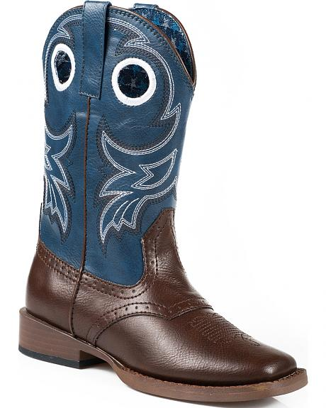 Roper Boys' Blue and Brown Faux Leather Cowboy Boots - Square Toe