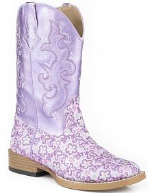 Roper Girls' Lavender Floral Glitter Cowgirl Boots - Square Toe