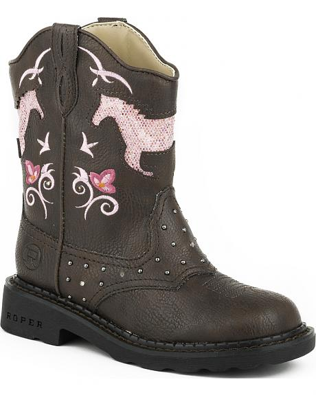 Roper Toddler Girls' Pink Horses Light-Up Cowgirl Boots