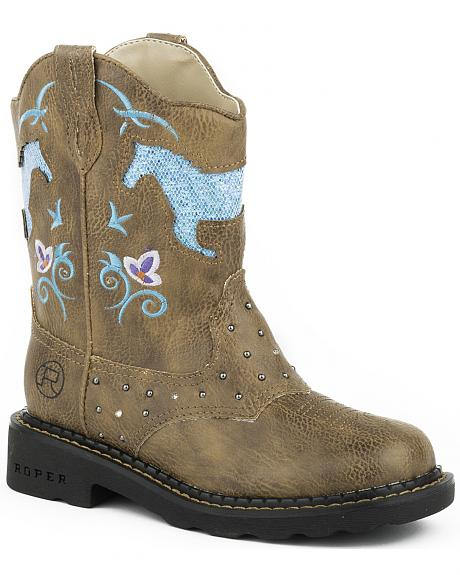 Roper Toddler Girls' Turquoise Glitter Horse Light-Up Cowgirl Boots - Round Toe
