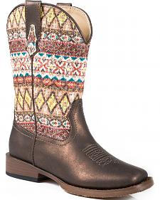Roper Girls' Faux Leather Aztec Glitter Cowgirl Boots - Square Toe