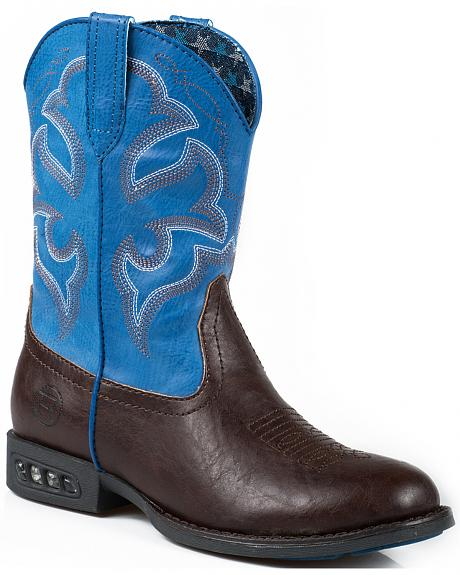 Roper Toddler Boys' Blue Faux Leather Light-Up Cowboy Boots - Square Toe