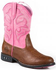 Roper Youth Girls' Pink Light-Up Cowgirl Boots - Round Toe