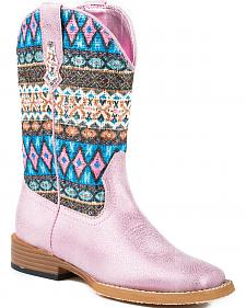 Roper Youth Girls' Pink Aztec Glitter Cowgirl Boots - Square Toe