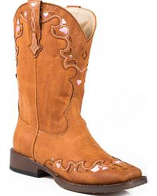 Roper Youth Girls' Tan Vintage Crystal Cowgirl Boots - Square Toe