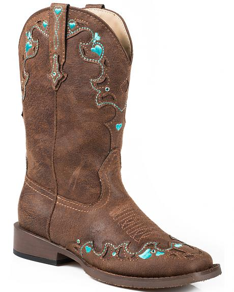 Roper Youth Girls' Vintage Crystal Cowgirl Boots - Square Toe