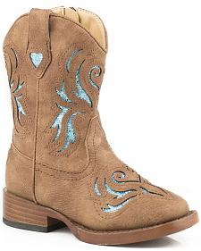 Roper Toddler Girls' Tan Glitter Breeze Cowgirl Boots - Square Toe